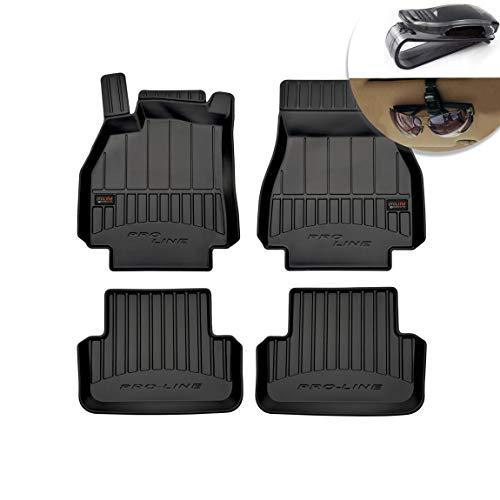 Frogum Alfombrillas de Goma 3D Alfombrillas de Coche TPE, compatibles con el Juego Renault Megane II 2002-2008, Borde Muy Alto, Juego de 4 Piezas con Sistema de Montaje Negro