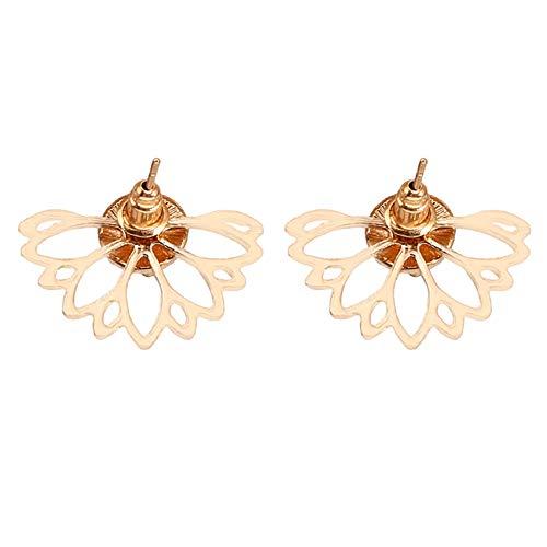 LPOQW 2 unids/set pendientes para mujer con forma de loto hueco y diamantes de imitación completos colgantes elegantes pendientes colgantes para mujer, joyería de regalo