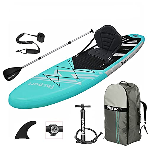 FBSPORT Tabla Sup Hinchable, Tabla de Stand Up Paddling, Tabla Paddle Surf, Tabla de Surf Kit con Remo de Aluminio+Bomba+Asiento de Kayak | Longitud: 320cm