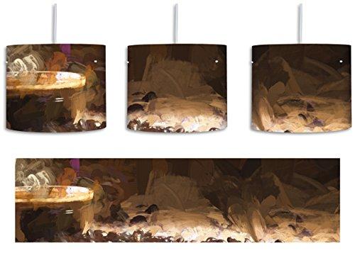 aufgebrühter Kaffee umgeben von Kaffeebohnen Pinsel Effekt inkl. Lampenfassung E27, Lampe mit Motivdruck, tolle Deckenlampe, Hängelampe, Pendelleuchte - Durchmesser 30cm - Dekoration mit Licht ideal für Wohnzimmer, Kinderzimmer, Schlafzimmer