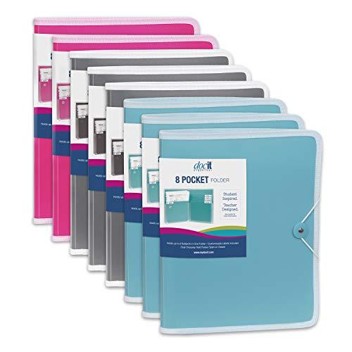 Docit Taschen-Ordner mit mehreren Fächern, ideal für Schule, Büro und Projekt 8-Fächer-Ordner 8-Pack sortiert