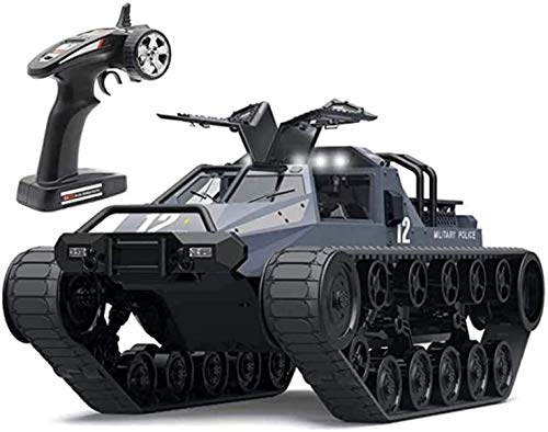 Moerc 2.4 GHz IPX4 Impermeable RC Ejército Crawler Vehicle RC Tanque Grande Radio Control Modelo Remoto Panzer Tank Gire 360 Wading Electric Car Toy para Adultos y niños (Color : 2battery Packs)