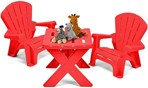 Kinderstoel Miwaimao bordspel - kinderen plastic meubilair 1 tafel, 2 stoelen om te eten, leren, lezen, spelen, gebruik maken van de moeder out (rood)