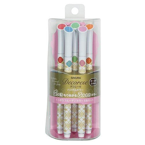 Sakura Fun Writing Gel Ink Roller Ballpoint Pen for Decoration, Decorese Pastel 5 Color Set A, Fruity Color (DB206P5A)
