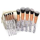 4 Opciones Set De Brochas De Maquillaje 10Pcs Maquillaje Profesional Neceser Portátil De Lavado Del Viaje Para Maquiellaje Estilo De Mármol Blanco Pincele De Maquillaje Para Foundation Sombra De Ojos