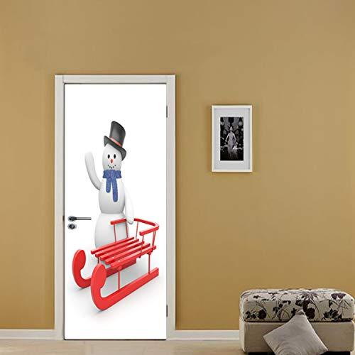 KJHGUFGN Schlitten Schneemann Weihnachten Wand Tür Aufkleber Schutzwand Pad 3D Aufkleber Abnehmbare Tapete Schlafzimmer Baby Kinder Wohnzimmer