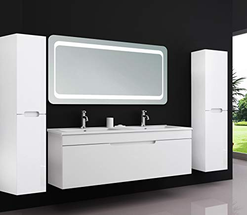 Oimex KIMIA Badmöbel Set Doppel Komplett 120cm Weiß LED Spiegel Hochglanz Waschbecken Unterschrank 2X Seitenschrank