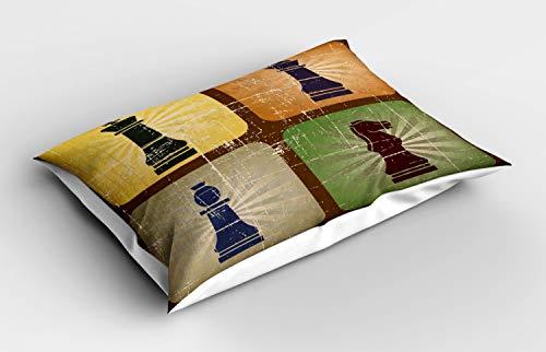 ABAKUHAUS Bordspel Siersloop voor kussen, Vintage Chess Pieces, standaard maat bedrukte kussensloop, 75 x 50 cm, Veelkleurig