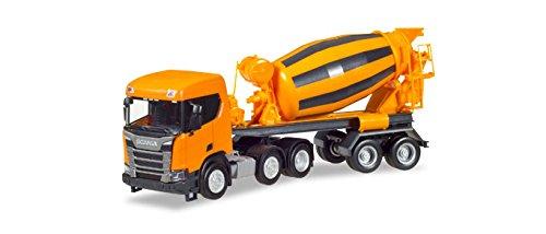 Herpa 309004 Scania CR XT plat Dakbeton mixer oplegger, gemeenschappelijk oranje, Gekleurd