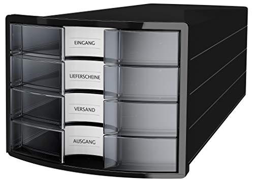 HAN 1012-363 Cassettiera IMPULS, design innovativo ed attrattivo di alta qualità. Con 4 cassetti chiusi e con grandi etichette per la descrizione del contenuto, nero/ traslucente.