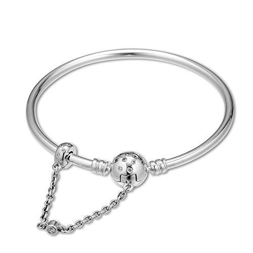 PANDOCCI 2019 Muttertagsgeschenk Limited Edition Wahre Einzigartigkeit Armreif für Frauen 925 Silber DIY Passt für Ursprüngliche Pandora Charme Modeschmuck (19cm)