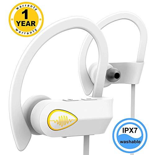 IPX7 Waterproof Headphones - Best Wireless Earbuds - Wireless Sports Running CVC 6.0 - Sweat Proof Stable Fit in Ear Workout Earbuds - Bluetooth Earbuds w/Mic for Men Women