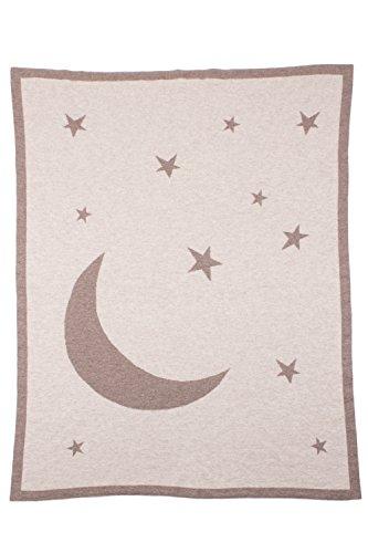 Love Cashmere Lune et Étoiles Couverture Emmaillotée en 100% Cachemire pour Bébé - Gris - Fait main à Écosse