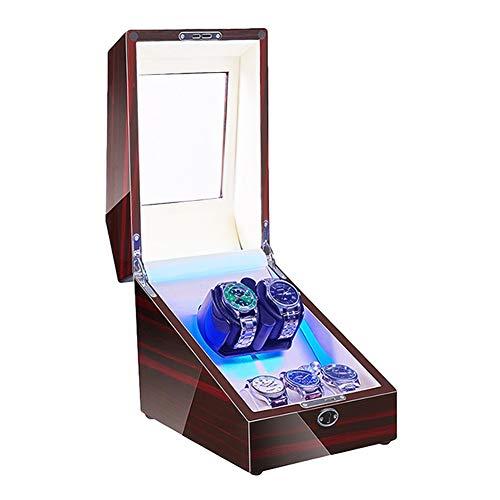 Jlxl Mira La Cuerda Caja para 2 + 3 Relojes Automáticos con Interior Luz LED Motor Silencioso Almohada Reloj Suave Y Flexible Fuente Alimentación Dual Accesorios (Color : White)