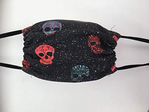 Maske Gesichtsmaske Stoffmaske rot schwarz Totenkopf Skull Schädel Skelett