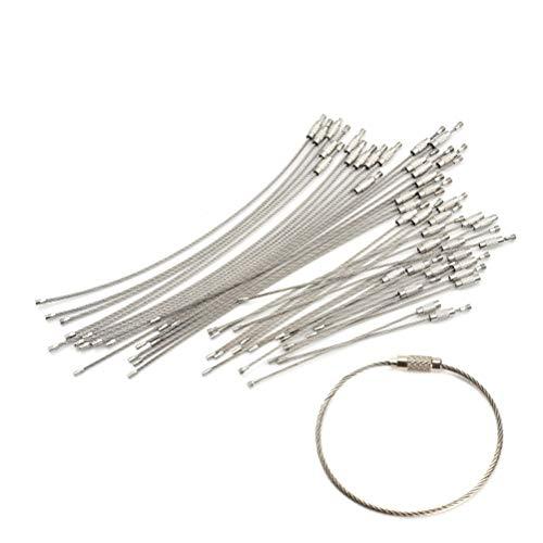 Bingpong 50pcs en Acier Inoxydable Fil câble Boucle de Verrouillage de la vis EDC Porte-clés tag Corde Anneau clé Cercle Camp Pendaison Outil Gadget (1.5 * 50 * 150mm)