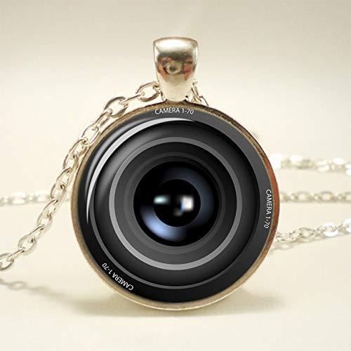 FUKAI Mode Einfache Vintage Kameraobjektiv Zeit Edelstein Anhänger Silber Lange Halskette Fotografie Kamera Liebhaber Charme Fotograf Exquisite Damen GIF