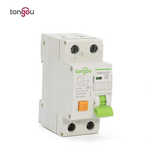 Interruttore di corrente residua di tipo elettromagnetico RCBO 2P 1P + N 40A 6KA con protezione da sovracorrente e dispersione TOBD5-63-16a