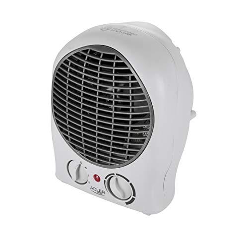 ADLER AD 7716 elektrischer Heizlüfter mit 2 Leistungsstufen 1000W / 2000W, Ventilator - kalter Luftzug, Thermostat, für Badezimmer, Kinderzimmer, Wohnmobil, Camping, Garage, klein (weiß)