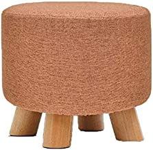 Footstools for Living Room, Ottoman Pouffe Padded Chair Stool with Removable Linen Cover 4 Beech Legs (Color : Orange)
