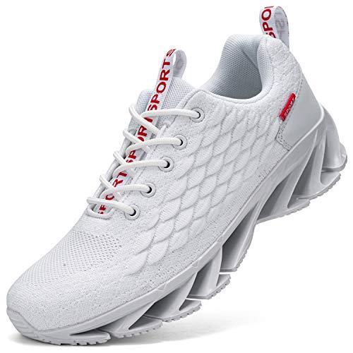 Kefuwu Laufschuhe Damen Sportschuhe Straßenlaufschuhe Sneaker Joggingschuhe Atmungsaktiv Turnschuhe Walkingschuhe Traillauf Fitness Schuhe Outdoor(Weiß 39)