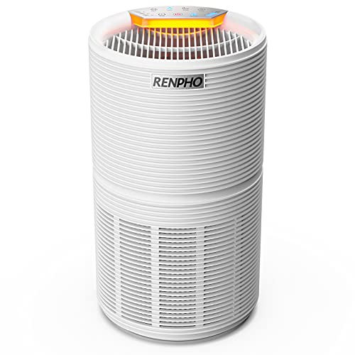 RENPHO HEPA Air Purifier for Home and Allergies, H13 True HEPA Air Filter Cleaner Eliminates 99.97% Dust, Mold, Smoke, Odors, Pet Hair, Germs, CADR 170m³/h, Quiet 26dB for Bedroom, Living Room