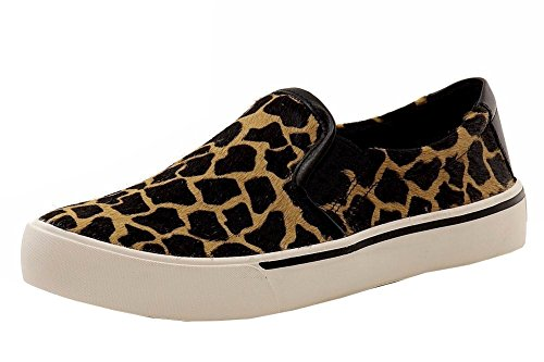 DKNY Donna Karan Women's Bess Sable/Black Giraffe Leather Sneakers Shoes Sz: 9