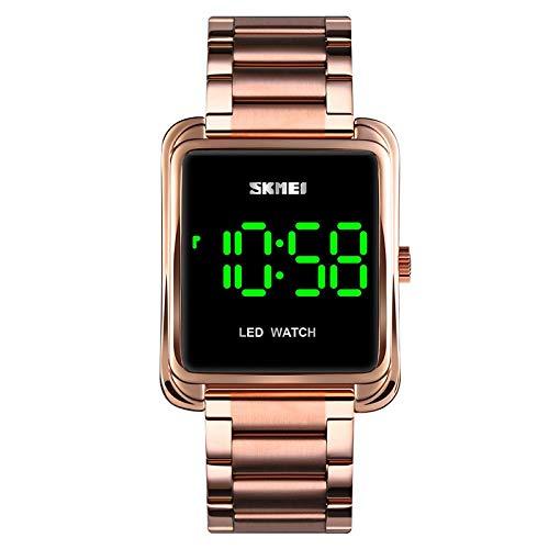 xiaoxioaguo Reloj digital LED de los hombres de la marca superior de lujo de acero inoxidable impermeable de los hombres al aire libre reloj