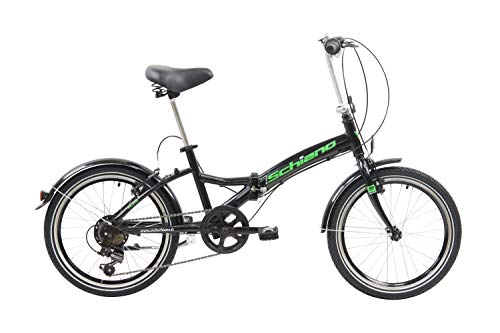 F.lli Schiano Pure, Bici Pieghevole Unisex-Adult, Nero-Verde, 20''