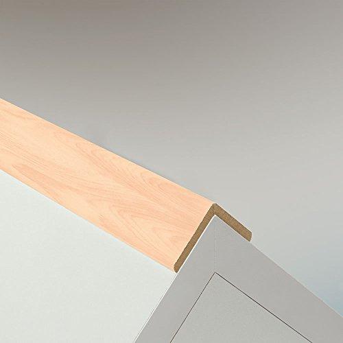 Winkelleiste Schutzwinkel Winkelprofil Tapeten-Eckleiste Abschlussleiste Abdeckleiste aus MDF in Silber Ahorn 2600 x 32 x 32 mm