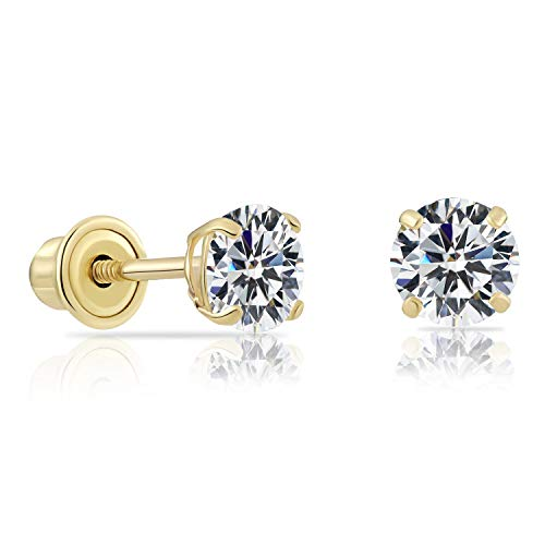 14k Yellow Gold Solitaire Round Cubic Zirconia Stud Earrings
