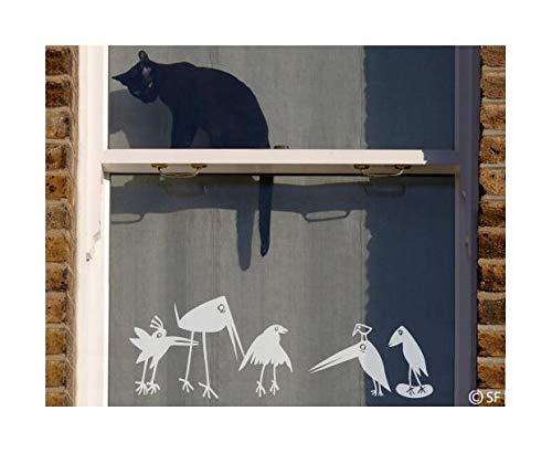 Apalis Fensterfolie Fenstertattoo Funny Birds Glas-Aufkleber Frosted 17 x 50cm