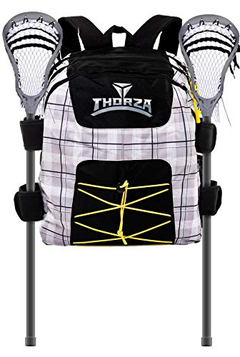 Thorza Lacrosse Backpack with Stick Holder and Multi Pocket Equipment Storage for Gloves, Cleats, Pads, and Goalie Gear - Large Capacity, Game, Travel and Practice Use