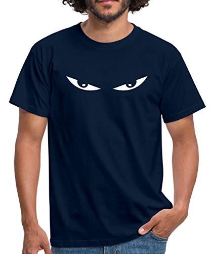Comic Augen Männer T-Shirt, L, Navy