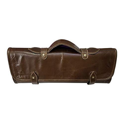Travel-Friendly Chef Knife Wrap Bag | Genuine Leather Knife Roll | Storage Bag Handles Carry Case Kitchen | travel bag knives holder | KB012