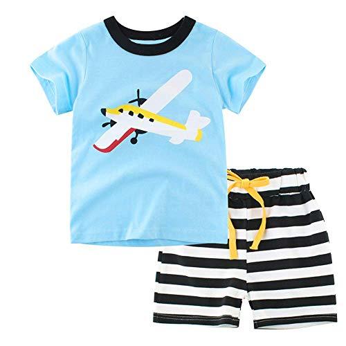 Little Hand Schlafanzug Jungen Kurz Kinder Sommer Zweiteiliger Baumwolle Dinosaurier Bagger Motorrad Flugzeug Kurzer Pyjamas Nachtwäsche 92 98 104 110 116 122