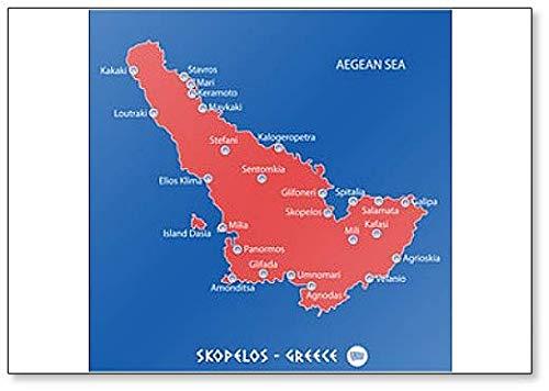 Eiland Skopelos in Griekenland Rode kaart Illustratie Koelkast Magneet