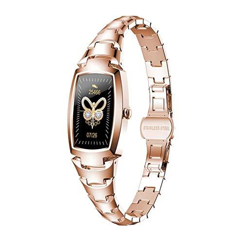 LJMG Reloj Inteligente, Monitor De Ritmo Cardíaco para Mujeres, Moda H8pro, para Android iOS Pulsera De Fitness Mujeres Smartwatch IP67 Impermeable,B