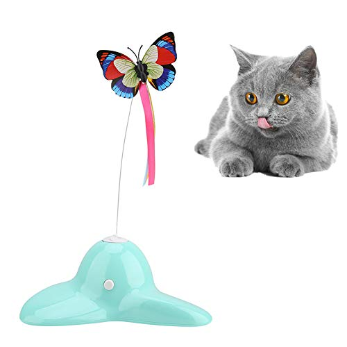 HEEPDD Cat Toy Teaser Electric Rotating Luminous Butterfly Training Cat Toys Gioco al Coperto Giocattolo Pet Supplies for Kitties Kittens Cats Esercitarsi Giocare Chasing Divertente