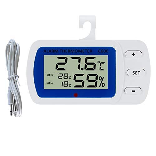 Termómetro digital para frigorífico con alarma de humedad interior y alarma sonora para el hogar, restaurantes blanco