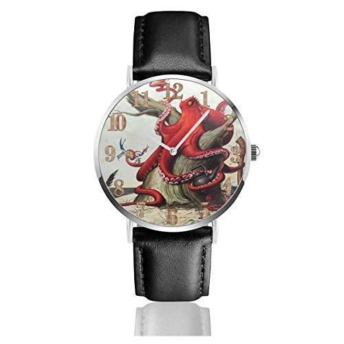 Deep Sea Red Octopus Crab Food Tee Clo Uhren PU Leder Armbanduhr Life Silence Quartz Uhr mit Silber Edelstahl