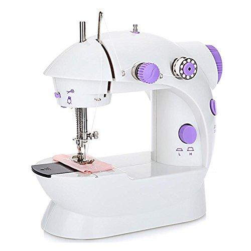 Máquinas de Coser Mini portátil 12programas de costura eléctrico doméstico máquina de coser, para principiantes velocidad de costura ajustable con los accesorios Complets morado