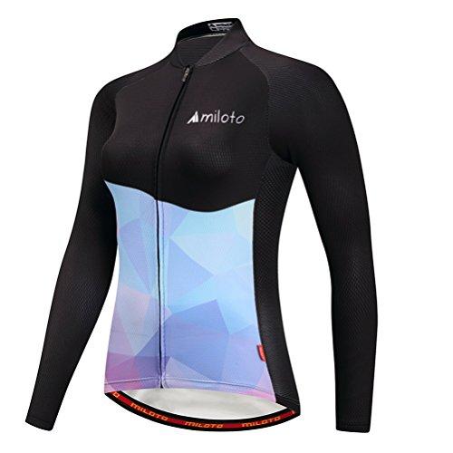 Uriah Women's Cycling Jacket Long Sleeve Reflective Blue Black Size XXL(CN)