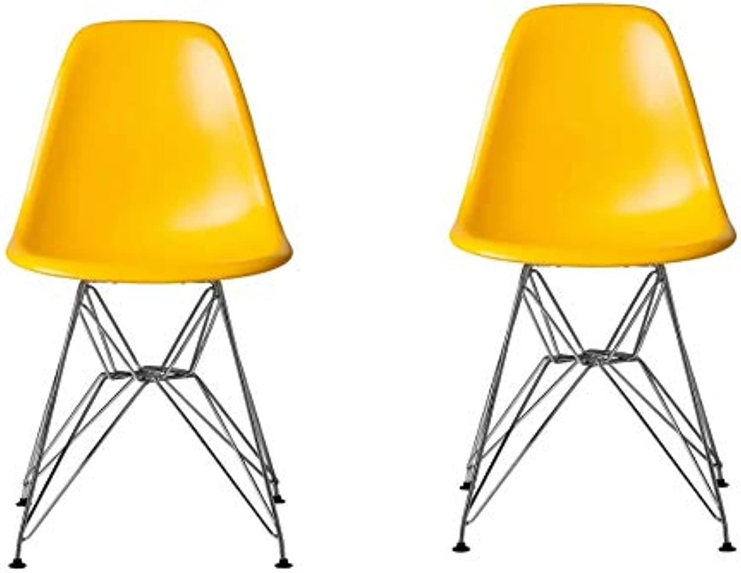 Take Me Home Furniture Eames Style Side Chair with Chrome Legs Eiffel Dining Room Chair - Set of 2 (Yellow)