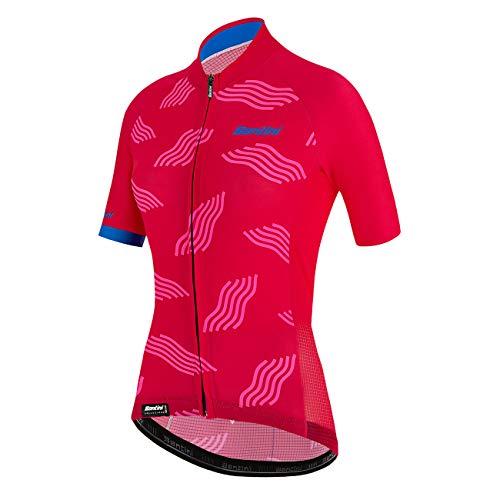 Santini Abbigliamento Ciclismo Donna Maglia Estiva Tono Dune (L, Rosa)