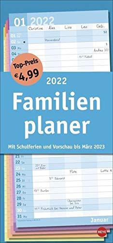 Basic Familienplaner 2022 - Wandkalender mit Monatskalendarium, 5 Spalten, Schulferien, 3-Monats-Ausblick Januar bis März 2023 - 21 x 45 cm