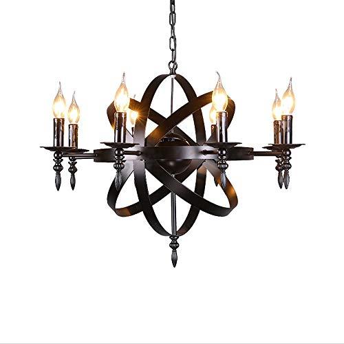 Luz colgante clásica medieval - 8 luces, lámpara de techo candelabro de vela redonda - Castillo de estilo forjado Lámparas colgantes de gran tamaño for una sala de estar Pasillo Casa de campo - E14
