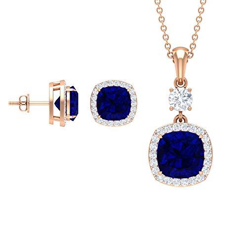 Rosec Jewels 18 quilates oro rosa cojín Round Brilliant Blue Moissanite Zafiro azul creado en laboratorio.