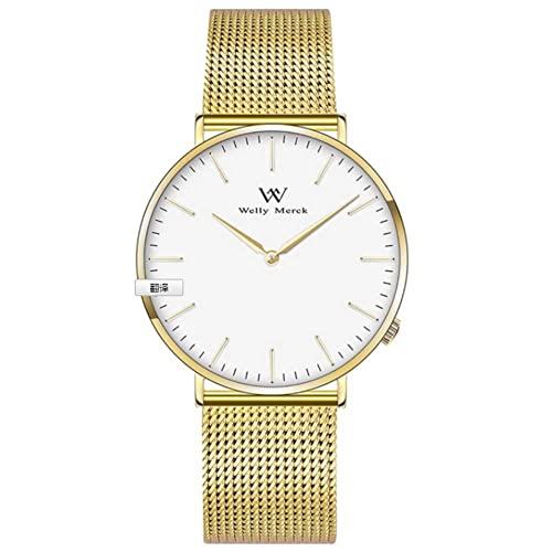 LONGSHUO Welly Merck Damen Analog Uhren Schweizer Quarzwerk MIT Golden Edelstahl Armbänder W-c7m3
