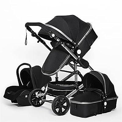 HZPXSB Cochecito de bebé 3 en 1 High Landscape Stroller Reclink Baby Carriage Cochecito Plegable Puchchair Coche recién Nacido Marco de Aluminio (Color : Black)